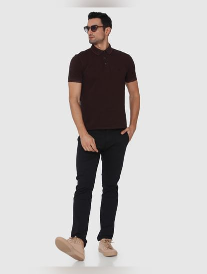 Burgundy Contrast Tipping Slim Fit Polo Neck T-Shirt