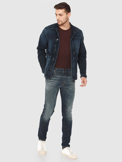 Dark Blue Faded Leon Slim Fit Jeans