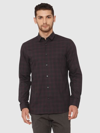 Grey Check Full Sleeves Shirt