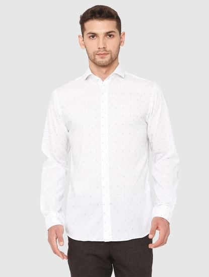 White All Over Dotted Print Formal Shirt