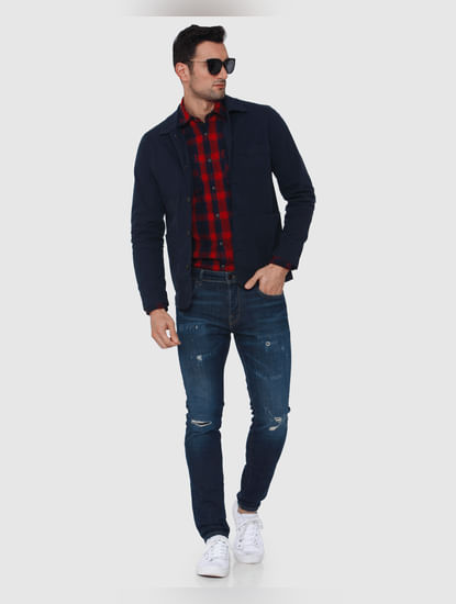 Dark Blue Knee Ripped Leon Slim Fit Jeans