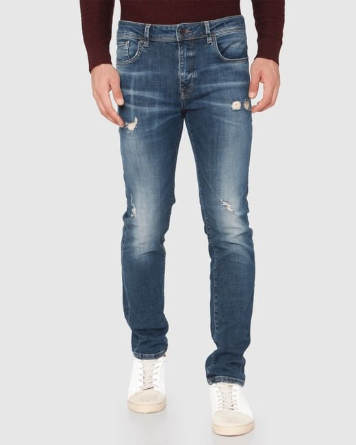Blue Ripped Leon Slim Fit Jeans