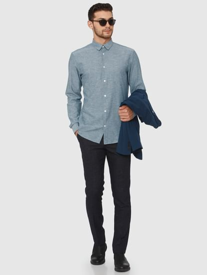 Teal Linen Slim Fit Formal Shirt