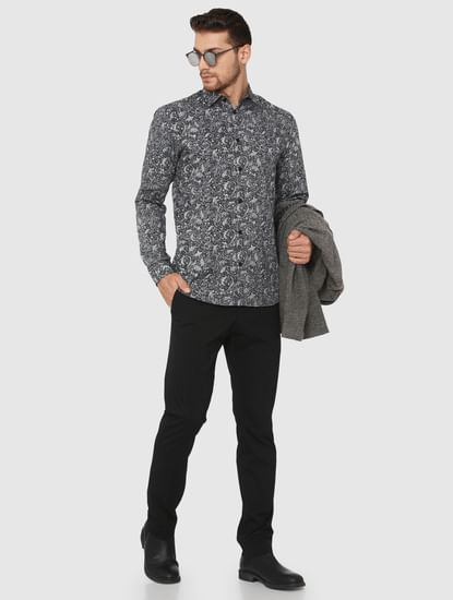 Black Printed Slim Fit Full Sleeves Shirt