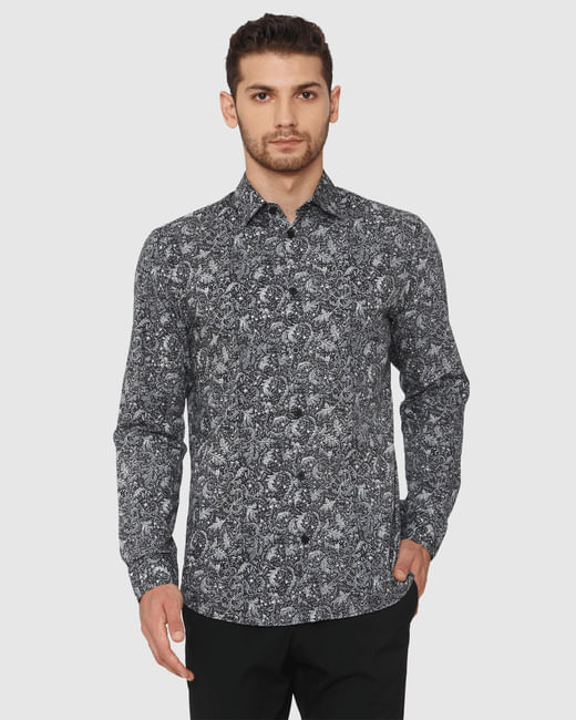 Black Printed Slim Fit Full Sleeves Shirt