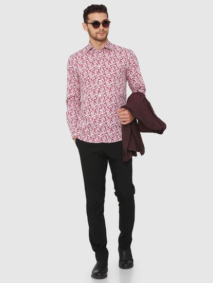 Red Floral Printed Slim Fit Shirt