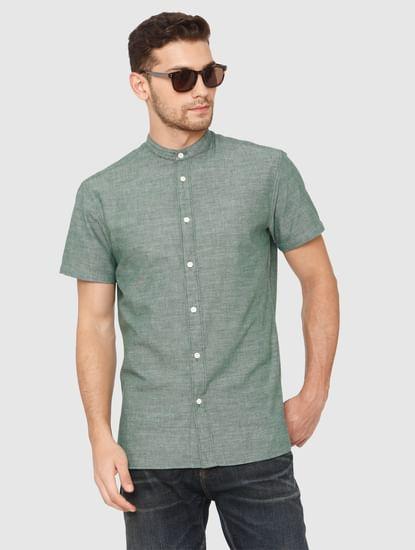 Green Slim Fit Short Sleeves Shirt