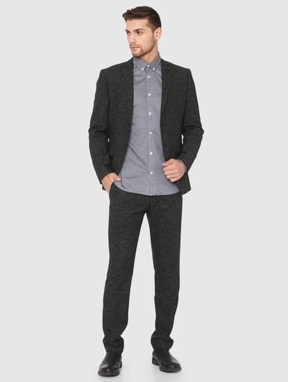 Grey Slim Fit Full Sleeves Shirt
