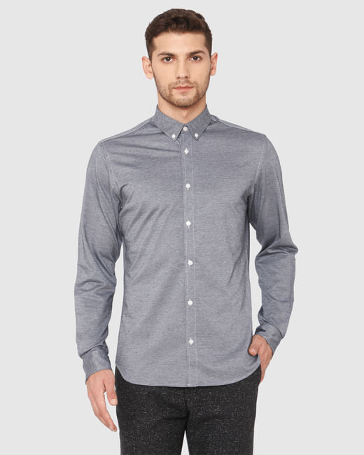 Grey Slim Fit Full Sleeves Shirt