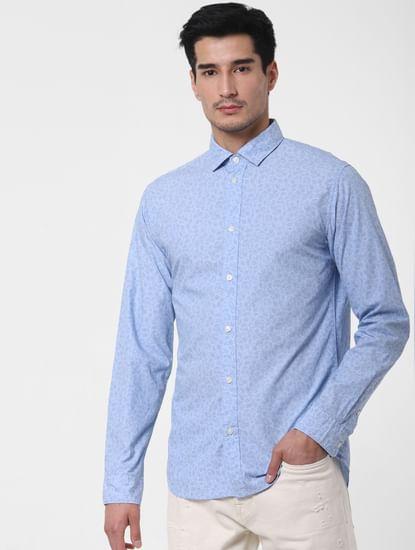 Light Blue Floral Print Shirt
