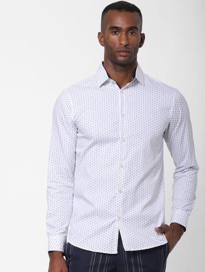 White All Over Print Formal Shirt