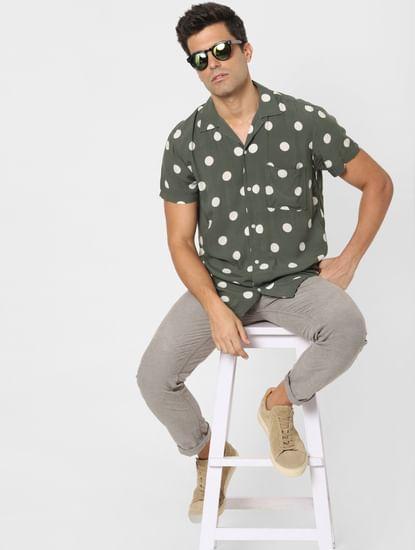 Green Polka Dot Short Sleeves Shirt