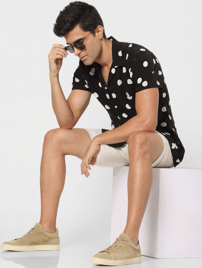 Black Polka Dot Short Sleeves Shirt
