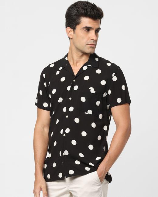 Black Polka Dot Short Sleeves Shirt