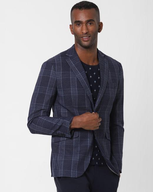 Navy Blue Check Formal Blazer