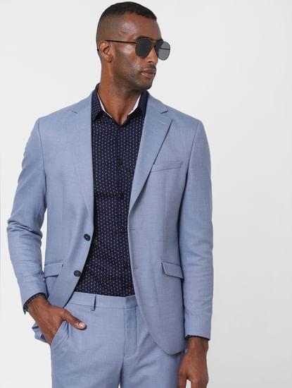 Light Blue Double Button Formal Blazer
