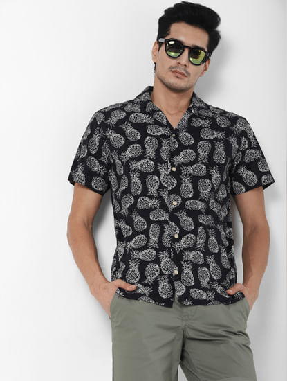 Black All Over Print Short Sleeves Shirt