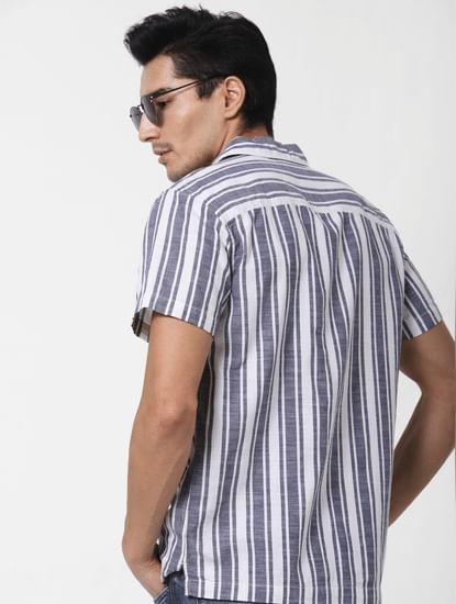 Blue Striped Short Sleeves Shirt