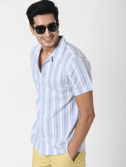 Light Blue Striped Short Sleeves Shirt