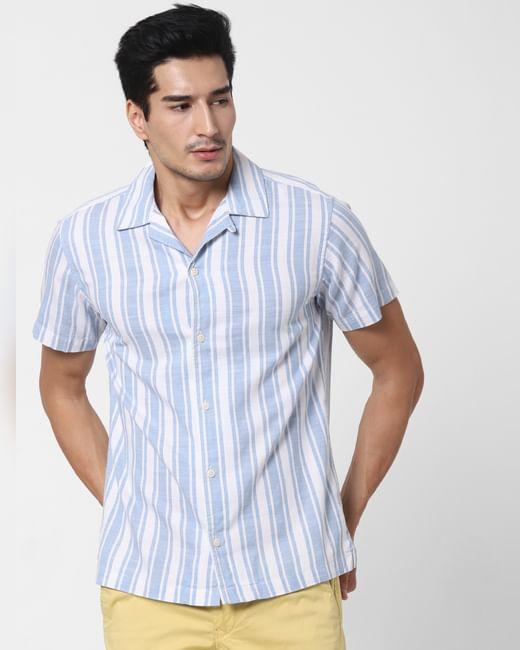 Light Blue Striped Short Sleeves Shirt
