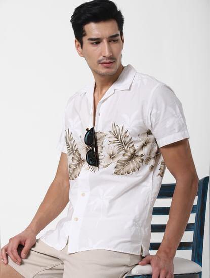 White Palm Tree Print Shirt