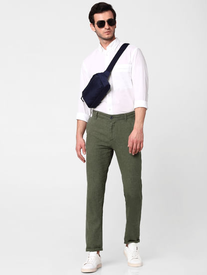 Green Mid Rise Straight Fit Trousers