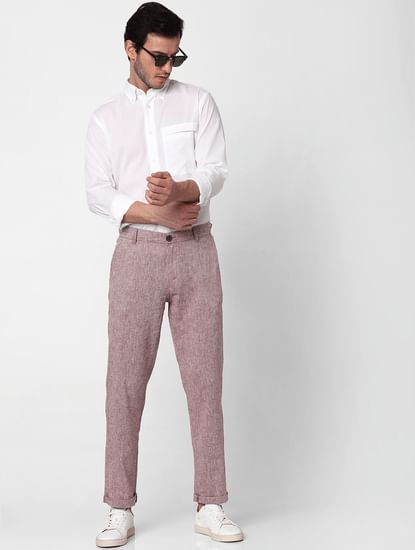 Pink Mid Rise Straight Fit Trousers