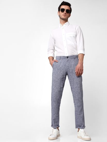 Blue Mid Rise Straight Fit Trousers