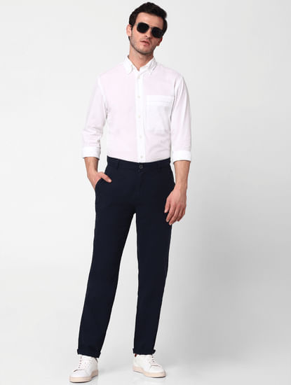 Dark Blue Mid Rise Straight Fit Trousers