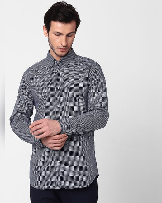 Blue Self Design Full Sleeves Shirt