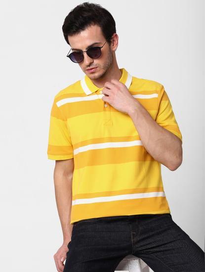 Yellow Striped Polo Neck T-shirt
