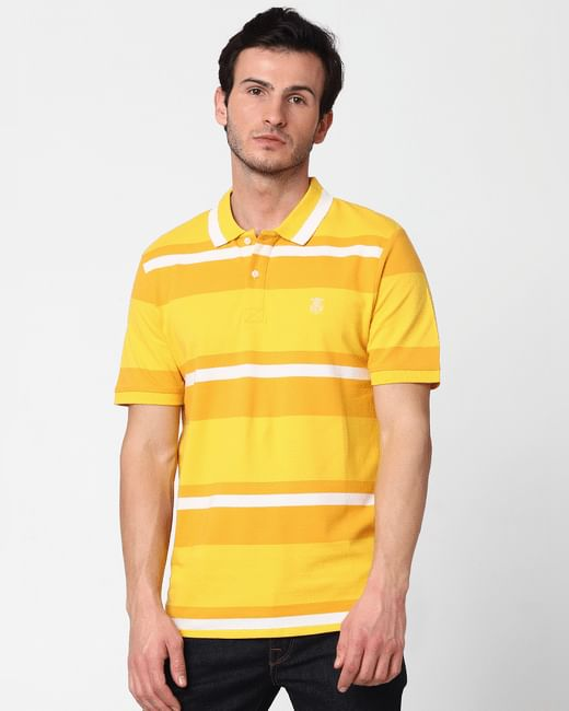 Yellow Striped Polo Neck T-shirt