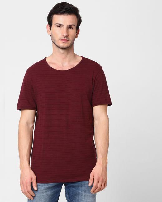 Maroon Striped Crew Neck T-shirt