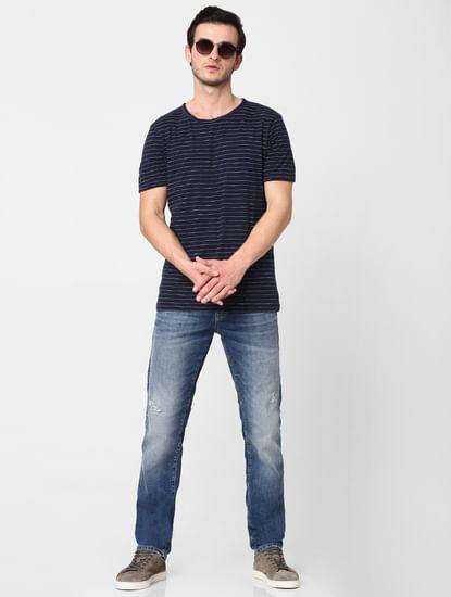 Navy Blue Striped Crew Neck T-shirt