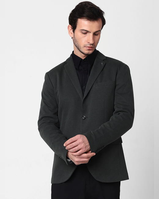 Dark Green Slim Fit Blazer