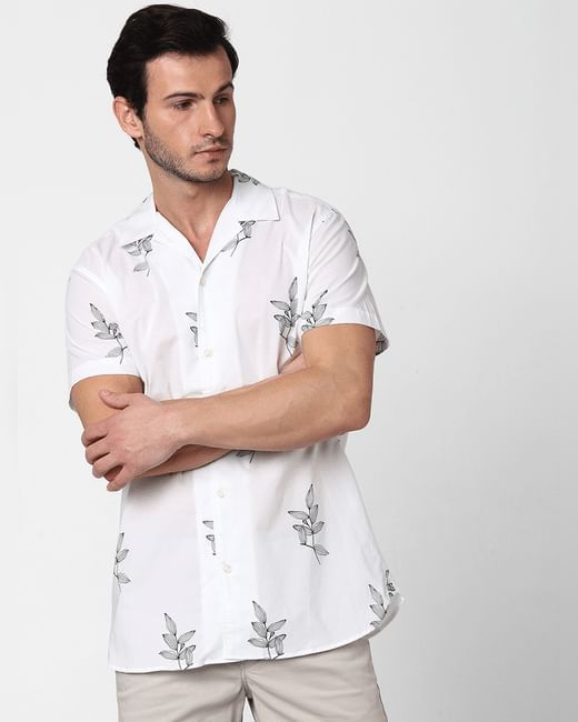 White All Over Print Short Sleeves Shirt