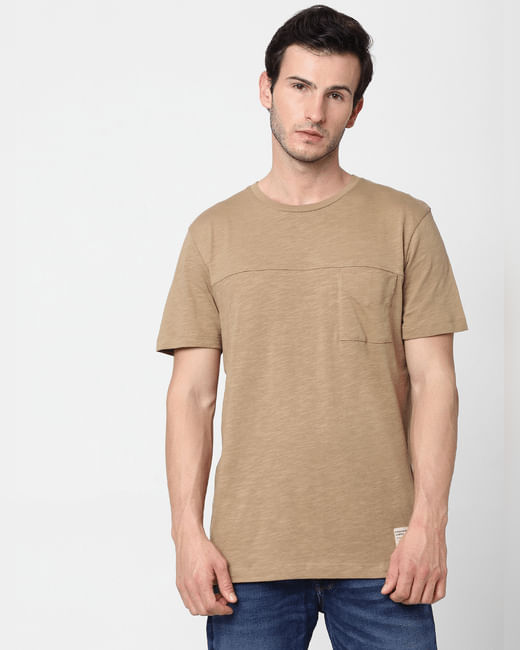 Beige Crew Neck T-shirt