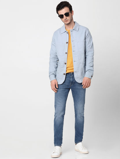 Light Blue Leon Mid Rise Slim Fit Jeans