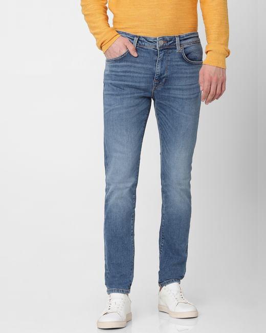Light Blue Leon Mid Rise Slim Fit Jeans