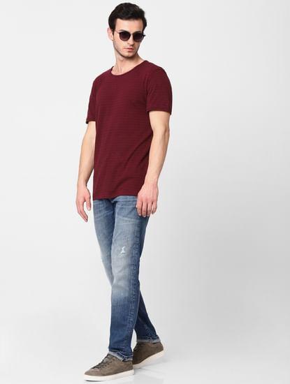 Dark Blue Leon Mid Rise Slim Fit Jeans