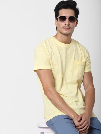 Yellow Chest Pocket Crew Neck T-shirt