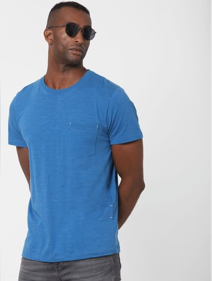 Blue Chest Pocket Crew Neck T-shirt