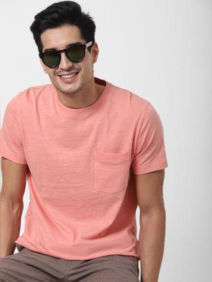 Pink Chest Pocket Crew Neck T-shirt