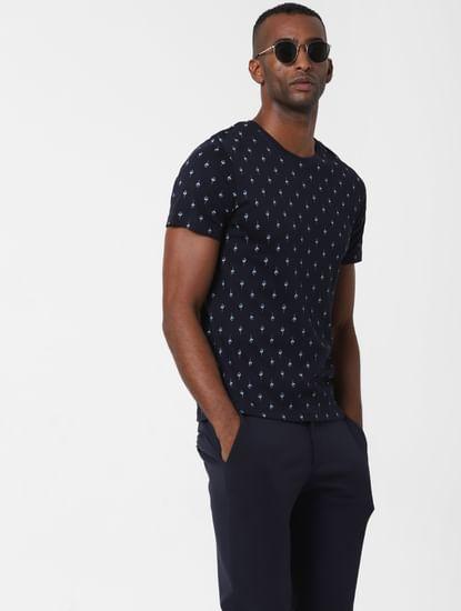 Navy Blue All Over Print T-shirt