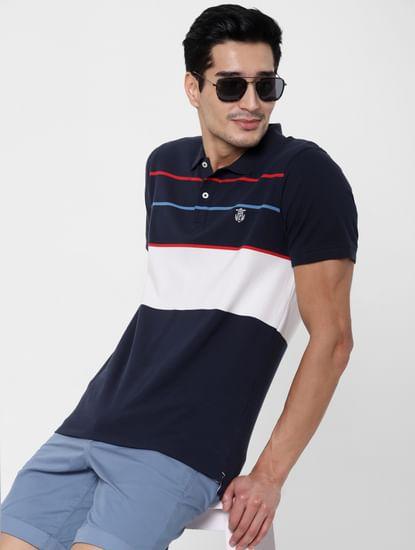 Blue Colourblocked Polo Neck T-shirt