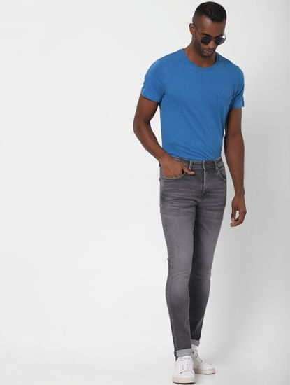 Grey Mid Rise Faded Leon Slim Fit Jeans