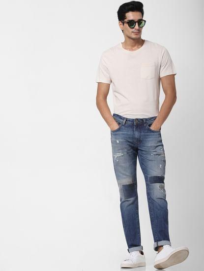 Blue Mid Rise Distressed Leon Slim Fit Jeans