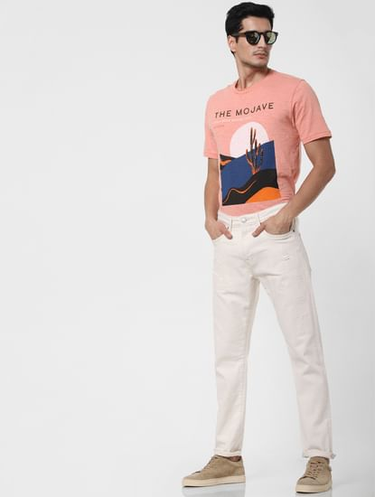 White Faded Toby Tapered Fit Jeans