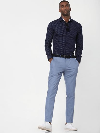 Light Blue Slim Fit Formal Trousers