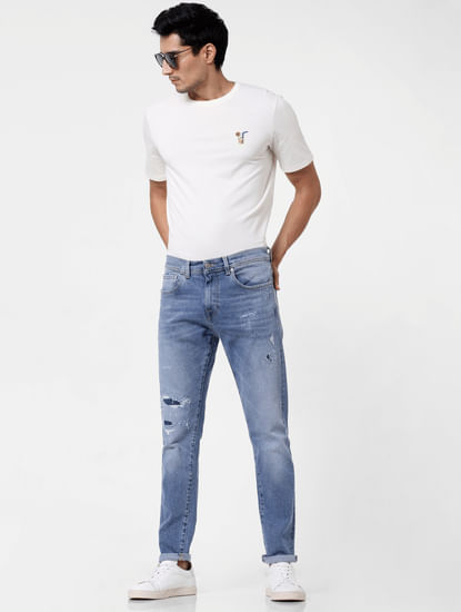 Blue Distressed Toby Tapered Fit Jeans
